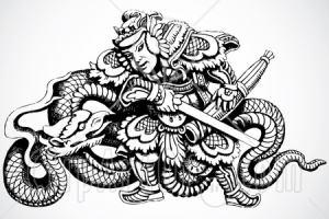 -Chinese-Warrior-With-A-Dragon-And-Sword