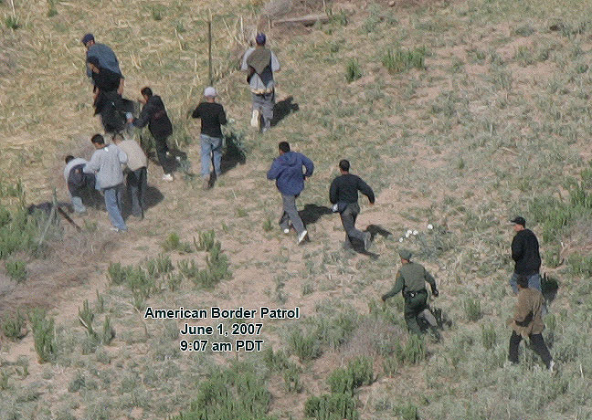 Illegal immigrants crossing the border